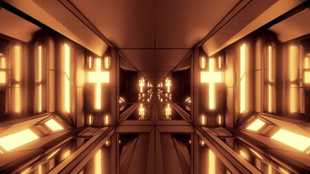 clean futuristic scifi fantasy space hangar tunnel corridor with holy christian glowing cross and glass bottom 3d illustration wallpaper background, future sci-fi building room with religion christus  写真素材