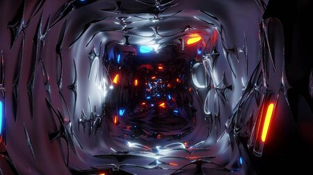 endless abstract fantasy elven tunnel corridor with glowing lights and reflective metal contur 3d illustration background wallpaper, middle age fantasy design 3d rendering building