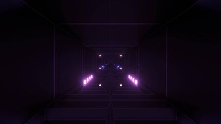 dark atmospheric science-fiction tunnel corridor with glowing lights and reflective glass windows 3d illustration background wallpaper graphic artwork, futuristic scifi tunnel corridor with metal wire-frame contur 3d rendering design Imagens