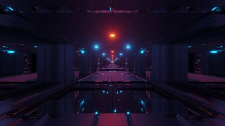 futuristic scifi space tunnel corridor with glowing lights and glass windows and botom 3d illustration background wallpaper graphic artwork