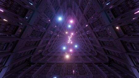 glowing spheres flying through triangle technical tunnel corridor 3d illustration backgrounds wallpaper graphics artworks
