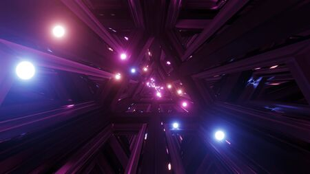 glowing spheres fly throgh tunnel corridor with glass windows 3d illustrations backgrounds wallpaper graphic artwork, flying glowing sphere particles 3d rendering design Imagens