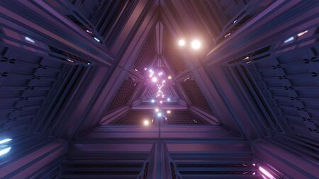 glowing spheres particles fly through triangle space tunnel corridor 3d illustration backgrounds wallpaper graphics artworks, futuristic scifi tunnel 3d rendering design Imagens