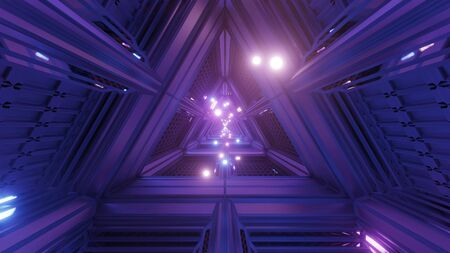 glowing spheres particles fly through triangle space tunnel corridor 3d illustration backgrounds wallpaper graphics artworks