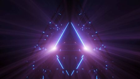 3d illustration beautiful magic triangle paradise door artwork design background wallpaper 3d renndering, magic glowing triangle with nice shine and colors art 3d illustration Imagens