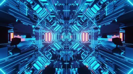 3d illustration background wallpaper graphic artwork with blue neon wireframe science fiction tunnel corridor passageway hangar with nice reflections