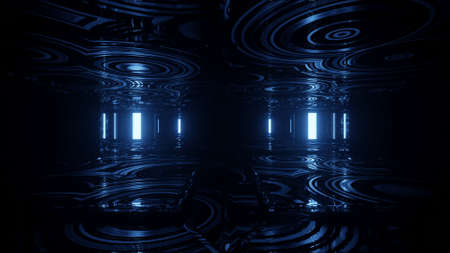 Striking Motion Blue Gold Neon Light Tunnel Display 4k uhd 3d rendering vj loop