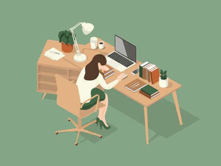 women fell asleep on the table while working. Isometric Illustration about working on the table. Vettoriali