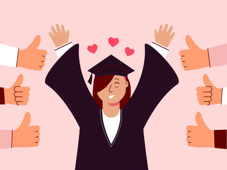 Female student graduated and felt good to be appreciated. Illustration about appreciated.