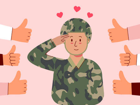 Male soldiers salute and feel good to be appreciated. Illustration about appreciated.