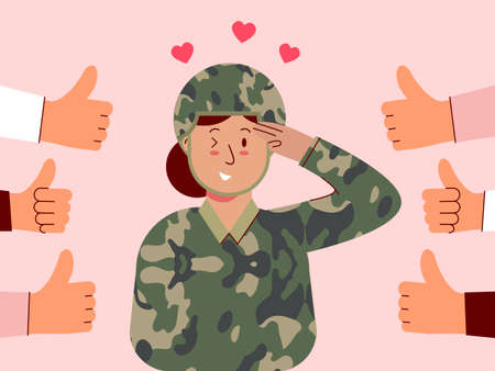 Female soldiers salute and feel good to be appreciated. Illustration about appreciated.