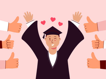 Male student graduated and felt good to be appreciated. Illustration about appreciated.