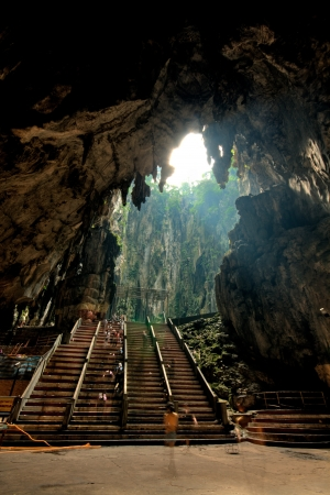 limestone caves: Inside the huge limestone grotto at the Batu Caves in Kuala Lumpur