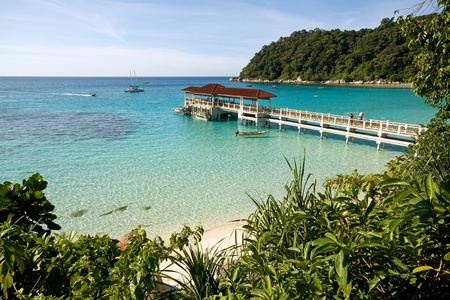 Crystal clear waters at the paradise island of Perhentian in Malaysia photo