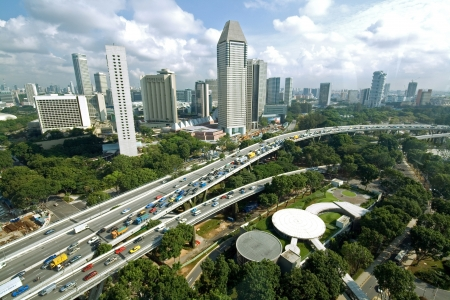Traffic jam at a highway in Singapore photo