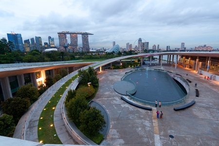 barrage: View of Singapore s skyline from Marina Barrage at dusk