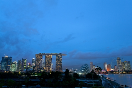 barrage: Beautiful view of Singapore s skyline from Marina Barrage Stock Photo