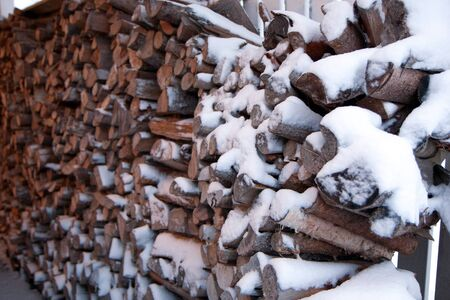 stocked: Pile of firewood stocked outdoors and covered in snow