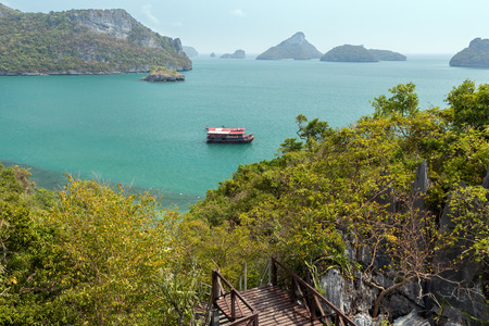 ang thong: View of archipelago at the Angthong (Ang Thong) National Marine Park in Thailand from the Mae Ko Island, slightly from above