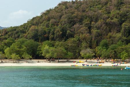ang thong: People and kayaks at a beach at the Angthong (Ang Thong) National Marine Park in Thailand