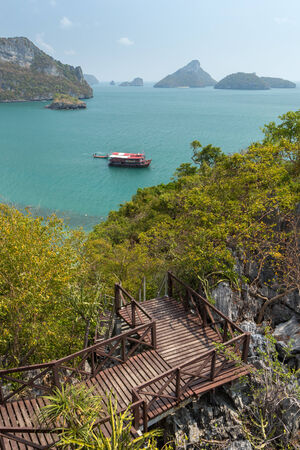 angthong: View of archipelago at the Angthong (Ang Thong) National Marine Park in Thailand from the Mae Ko Island, slightly from above