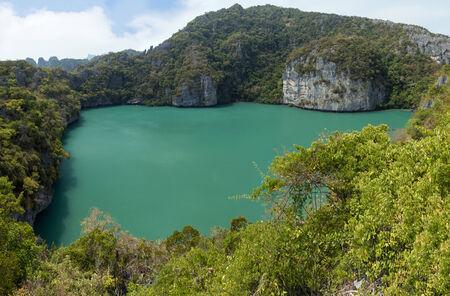 angthong: Panoramic view of Emerald Lake (or Green Lagoon, Talay Nai in Thai), a saltwater inland lake, at the Koh Mae Ko Island at Ang Thong (Angthong) National Marine Park in Thailand
