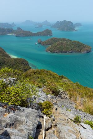 ang thong: Archipelago at the Angthong (Ang Thong) National Marine Park in Thailand, viewed from above, high at a rocky hill