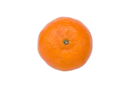 clementine: Closeup of a ripe clementine (Citrus clementina), isolated on white background Stock Photo