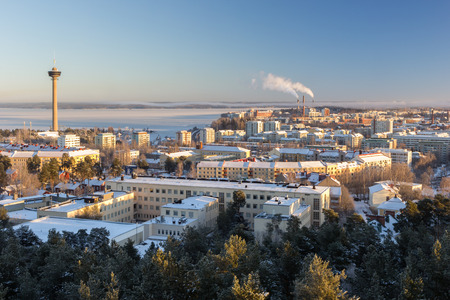View of N?sinneula observation tower and the city of Tampere, Finland, in the winter in daylight