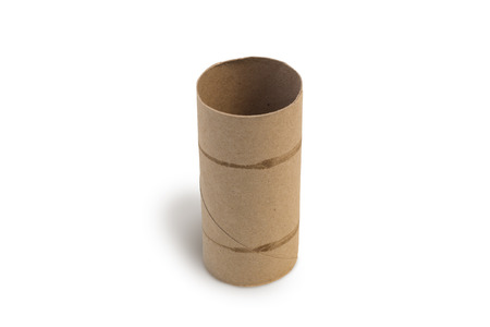 toilet roll: Closeup of one empty cardboard toilet roll, isolated on white background Stock Photo