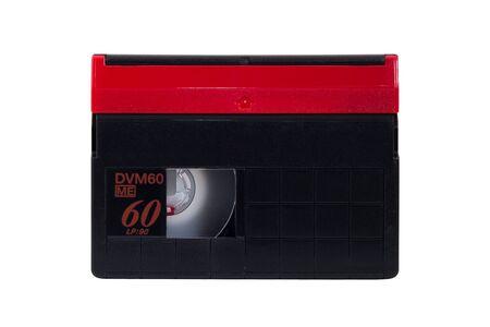 videocassette: Primer plano de un cassette MiniDV aislado en fondo blanco