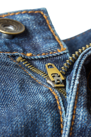 unzipped: Closeup of open unzipped and unbuttoned blue denim jeans isolated on white background