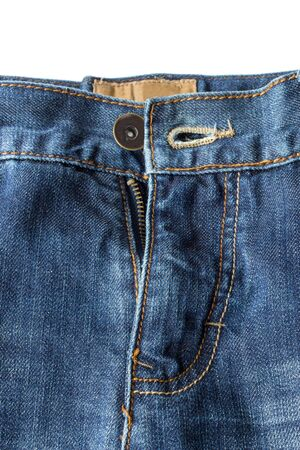 unzipped: Closeup of unzipped and unbuttoned blue denim jeans isolated on white background