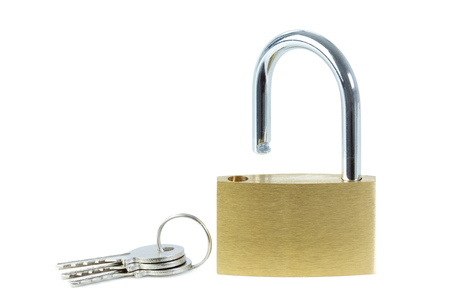 unlocked: Close-up of an unlocked padlock and keys, viewed from front, isolated on white background