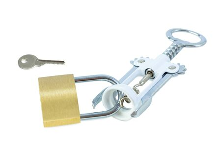 drinking problem: Key and a wine bottle opener locked to a padlock. Concept photo of drinking problem and alcoholism. Stock Photo