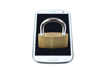 security technology: Locked padlock on a mobile phone. Isolated on white background. Concept photo of technology and mobile phone security.