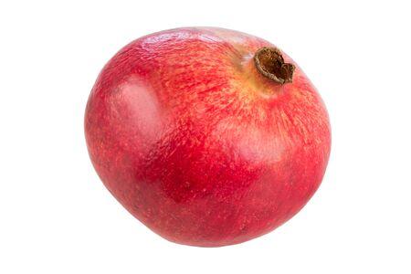 punica granatum: Close-up of a whole ripe pomegranate Punica granatum, isolated on white background. Stock Photo
