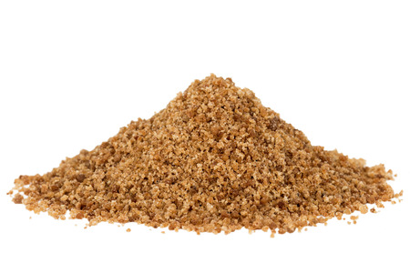 white sugar: Heap of organic brown coconut palm sugar, isolated on white background. Stock Photo