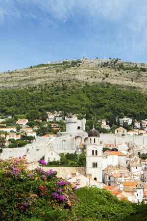 srd: View of the old town, city walls and Mount Srd in Dubrovnik, Croatia. Stock Photo