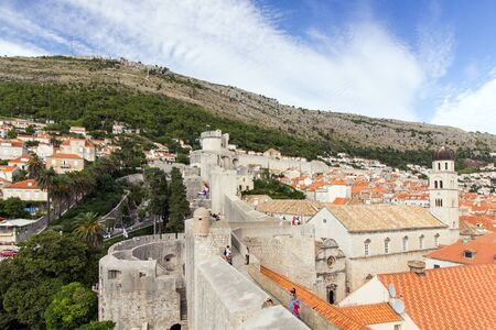 srd: View of the old town, city walls and Mount Srd from the walls in Dubrovnik, Croatia. Editorial