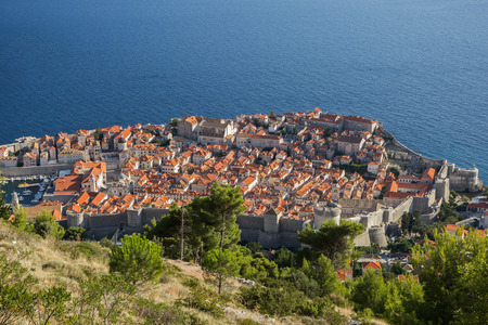 walled: Walled Old Town of Dubrovnik in Croatia viewed from above.
