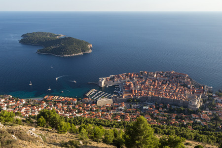 walled: View of the walled Old Town of Dubrovnik and Lokrum Island in Croatia from above.
