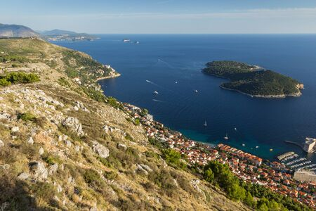srd: Scenic view of coastline and Lokrum Island from the Mount Srd in Dubrovnik, Croatia.