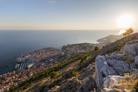 srd: Scenic view of Dubrovniks Old Town and beyond from the Mount Srd in Croatia. Stock Photo