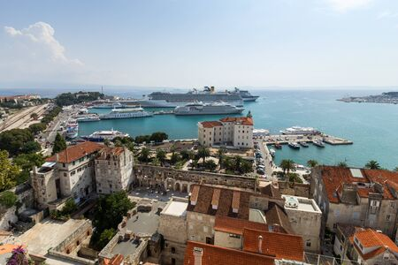 old ship: View of Splits historic old town and harbour from above in Croatia. Editorial