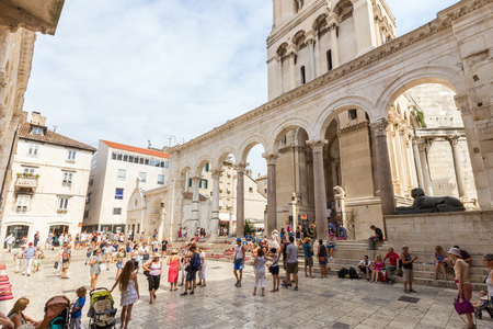 A lot of tourists at peristyle at the Diocletians Palace in Split, Croatia.