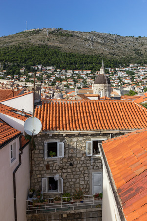 srd: View of residential buildings at the Old Town and Mount Srd in Dubrovnik, Croatia. Stock Photo