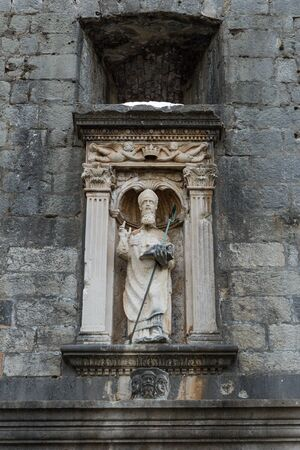 old towns: Statue of St. Blaise at the Old Towns Pile Gate in Dubrovnik, Croatia.