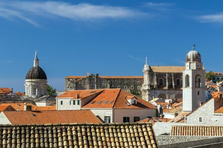 old towns: Old Towns skyline with churches and cathedrals towers in Dubrovnik, Croatia. Stock Photo