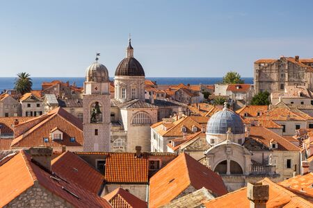 old towns: Old Towns skyline with red roofs and churches and cathedrals towers in Dubrovnik, Croatia. Stock Photo